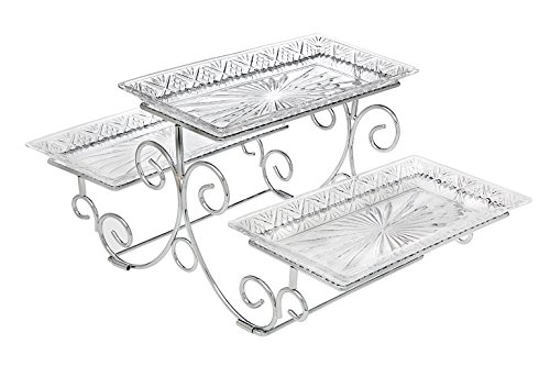 Godinger Silver Art Dublin 3 Tiered Glass Buffet Serving Tray - Chrome Plated Platter Stand with Starburst Design - Party and Event Dessert and Food Display Server ()
