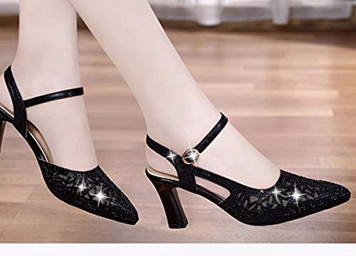 Grossier Sangles Chaussures Riz Moyen six Sandales Blanc Femme Dragging Boucles Kphy Trente t Femmes wdCqIRwY