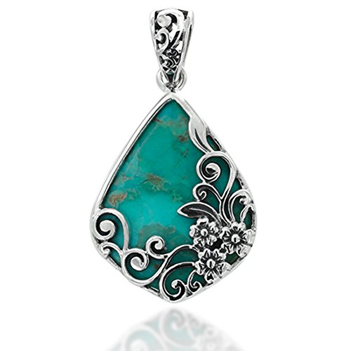 Chuvora 925 Oxidized Sterling Silver Decorative Blue Turquoise Gemstone Triangle Tear Drop ()