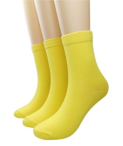 Women's Candy Color Comfort Cotton Knitted Crew Sock (Yellow/ 3 (Fantastic 4 Spandex Costume)