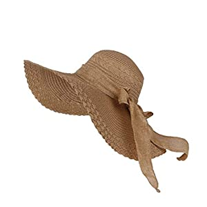 Futurekart Women's Straw Fold Sun Hat (Coffee, 57x14x10 cm)