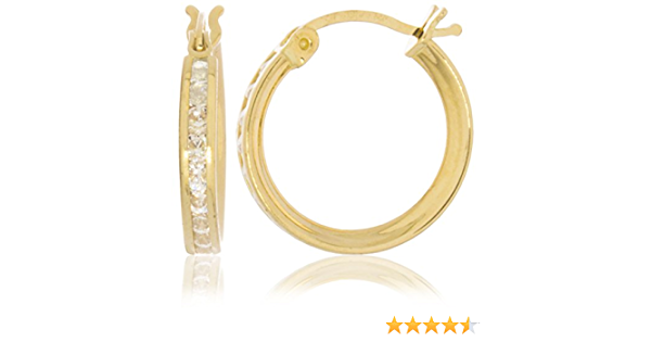 14K Solid Yellow Gold Earrings In A Double CZ Design Free Beautiful Pomegranate Gift Box
