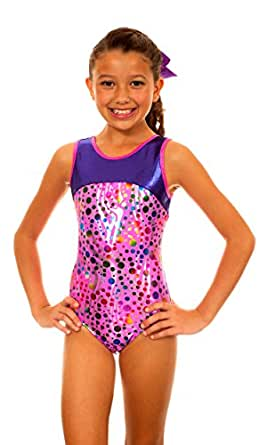 TumbleWear Girl's Makenna Pink Party Time Leotard (Child 10-12, PINK)