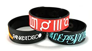 Panic! At The Disco And Pierce The Veil And 30 Seconds To Mars New 3Pcs(3X) Bracelet Wristband Dipvts