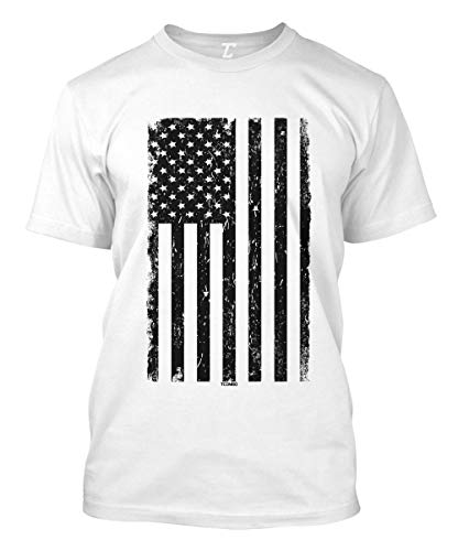 (Distressed Black USA Flag - United States Men's T-Shirt (White,)