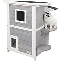 "Petsfit 2-Story Weatherproof Outdoor Kitty Cat House/Condo/Shelter with Escape Door 20"" Lx20 Wx32 H"