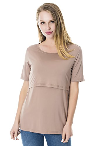 Smallshow 3 Pcs Maternity Nursing T-Shirt Modal Short Sleeve Nursing Tops Brown-Black-Grey,Large by Smallshow (Image #5)