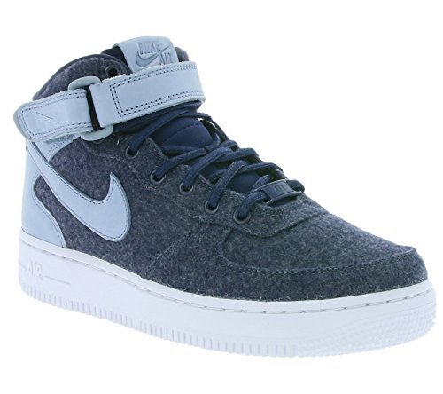 best sneakers 793c5 40e00 Galleon - Nike AIR FORCE 1 07 MID LTHR PRM Womens Basketball-shoes  857666-400 8 - MIDNIGHT NAVY MIDNIGHT NAVY-BLUE GREY