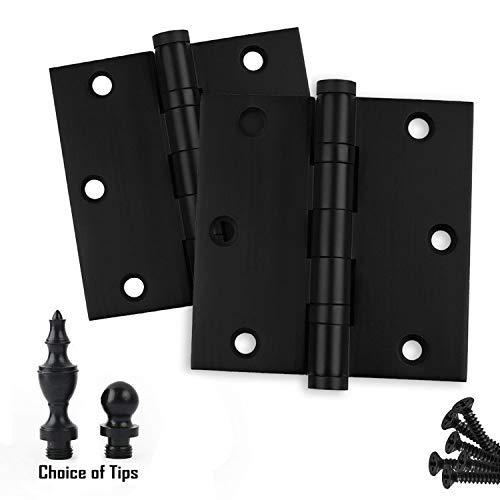 Architectural Grade 2 PK Door Hinges 3.5 x 3.5 Extruded Solid Brass Ball Bearing Hinge Heavy Duty Matte//Flat Black Stainless Steel Pin Ball//Urn//Button Tips Included US19