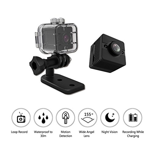 Mini Session Video Camera Underwater Action Camera Waterproof 1.2K 1080P Full HD 12MP Video Sport Camera 155¡ãWide Angle Lens with Mounting Accessories Kit