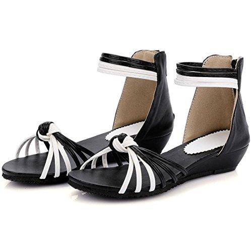 Komfortable Multicolor Damen Schuhe LongFengMa Sandals Zipper Schwarz Flats T4ZE5qw