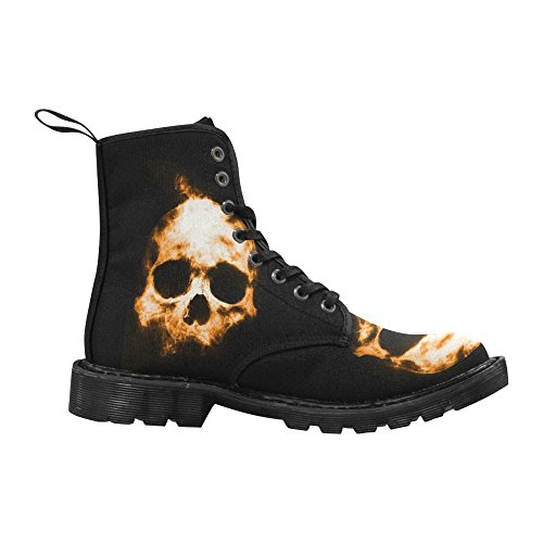 Interestprint Fashion Schoenen Skull Lace Up Laarzen Voor Dames Zwarte Zool