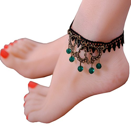 1PC Black Lace Handmade Retro Rhinestone Anklet Gothic Punk Style Foot Bracelet Vintage Palace Chain Foot Sandal Beach Wedding Jewelry for Girls Xmas Gift (Black With Green Pendant)
