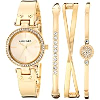 Anne Klein Women's Swarovski Crystal Accented Watch & Bangle Set (Gold)