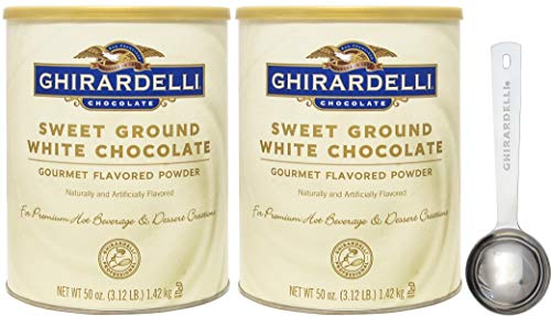 Ghirardelli White Hot Chocolate - Ghirardelli Sweet Ground White Chocolate Gourmet Flavored Powder 3.12 Pound (Pack of 2) with Limited Edition Measuring Spoon