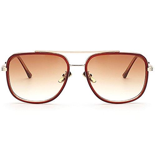 de Gafas sol Gafas Marco Cuadrado Gafas retro Aviator Marrón de sol metal de UV400 Oro qH7dEX
