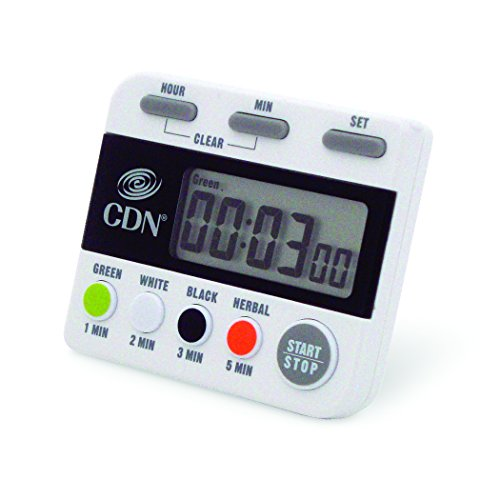 CDN TMT1 Tea Timer-4 Preprogrammed Steeping Timers for Green, White, Black and Herbal Teas, White/Black by CDN