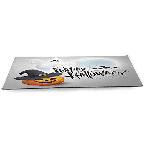 WinfreyDecor Halloween Fitness Yoga Mat Happy Celebration Typography Stained Look Cute Ghost Pumpkin Hat Print Non-Slip, Moisture-Resistant W24 x L70 White Black -