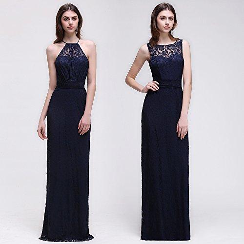 MisShow Damen Brautjungfernkleid Abendkleid Partykleid Brautkleider Navyblau Gr.32-46