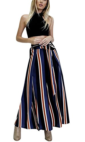 Womens Stripe High Waisted Wide Lounge Wide Leg Culottes Split Palazzo Skirt Pants M,Navy by Oops Style (Image #2)