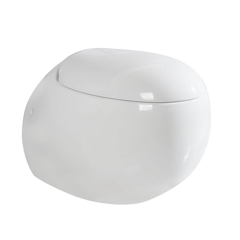 Gimify Cuvette WC Suspendu Toilette en Ceramique avec Abattant (Ronde) TL004UK