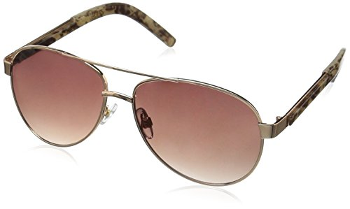 Foster Grant Women's Sky Aviator Sunglasses, Gold, 57 ()