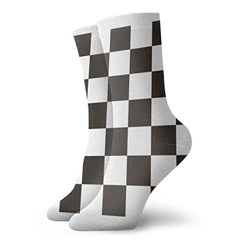 Crew Socks Checkered Flag Athletic Socks Personalized Anti Bacterial Odor Cushion Short Boot Stocking ()