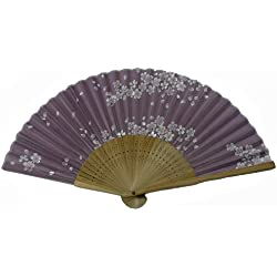 World Treasure Japanese Design Silk Handheld Folding Fan, Lavender White Petals HF-195