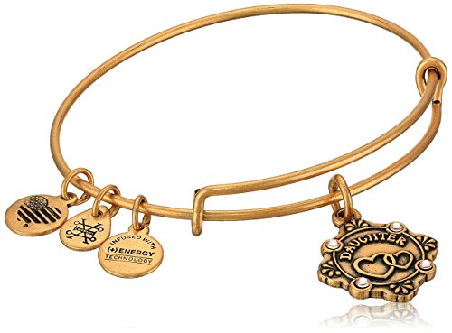 Alex and Ani Womens Because I Love You, Daughter Charm Bangle Bracelet, Rafaelian Gold, Expandable ()