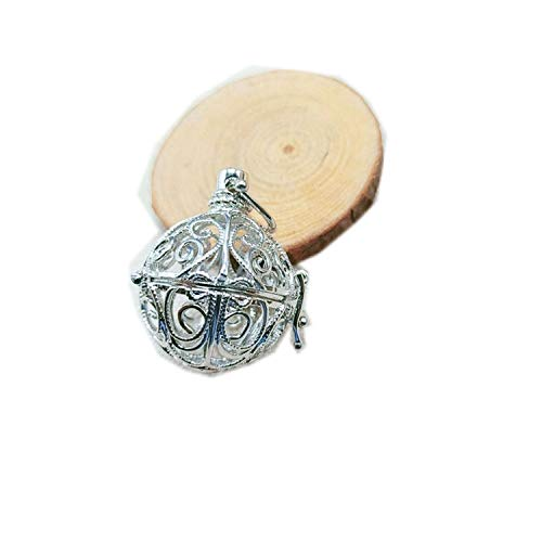 (Harmony Locket Cage Pendant for Chime Ball Floating Lockets Charms You Can Open It,40 White K)