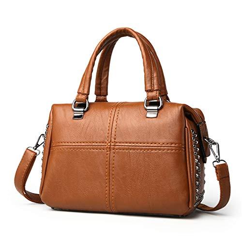 Thread Bag cm Beige Brown 26 Leather 5X12X18 Handbag PU Crossbody Women wqxROtTa