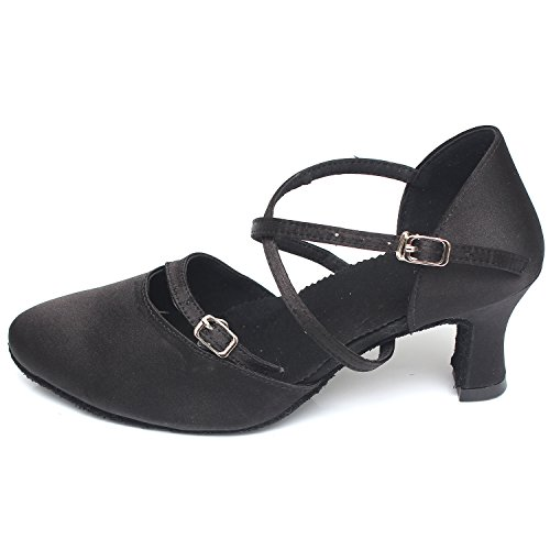 Azbro Mujer Zapatos de Baile Waltz Suela Suave de Tacón Alto Negro