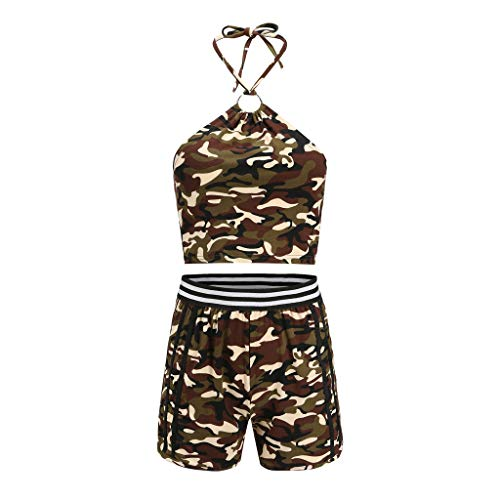 Women's Sexy 2 Piece Outfits Sleeveless Halter Neck Cami Scallop Trim Workout Crop Tops Camo Soft Breathable Loose Shorts Summer Casual Suits