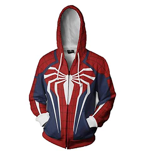 The American Fashion 3D Printed Cotton Fleece Hoodie Zip Up Jacket (Small, Red/White/Blue) ()