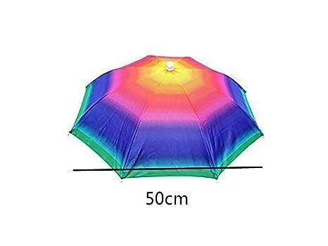 Sunnyshinee Ducharse Gorra de Paraguas Ajustable montada en la Cabeza Sombrero de Paraguas Plegable de Pesca