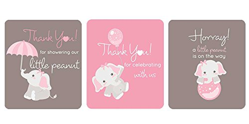 Lip Balm Labels Gray Elephant Set of 45 (Pink) (Labels Oval Favor)