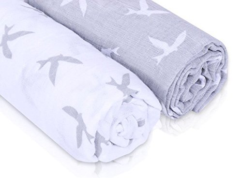 Baby Swaddle Blankets, 100% Cotton Muslin, Premium Baby Shower Gifts, Set of 2 Receiving Blanket, Gender Neutral, Hypoallergenic, Unique Design |Bird Print| Warm Soft & Safe, Perfect for Your Baby -
