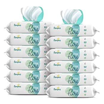 Pampers Aqua Pure 12 Pop-Top Packs Sensitive Water Baby Wipes, Hypoallergenic and Unscented, 672 Count