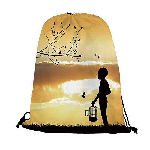 Nature Nice Drawstring Bag,Little Child Silhouette with a Bird Cage at Sunset in Forest Rural Trees Birds For traveling,17.7