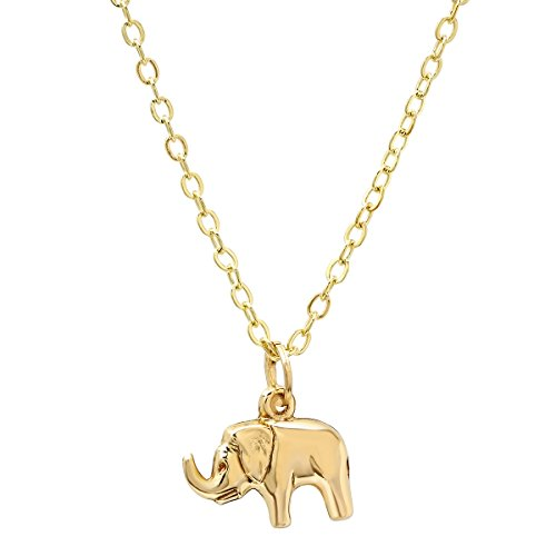 Pori Jewelers 14K Yellow Gold Elephant Pendants in Diamond cut 14K Gold cable chain Necklace -18