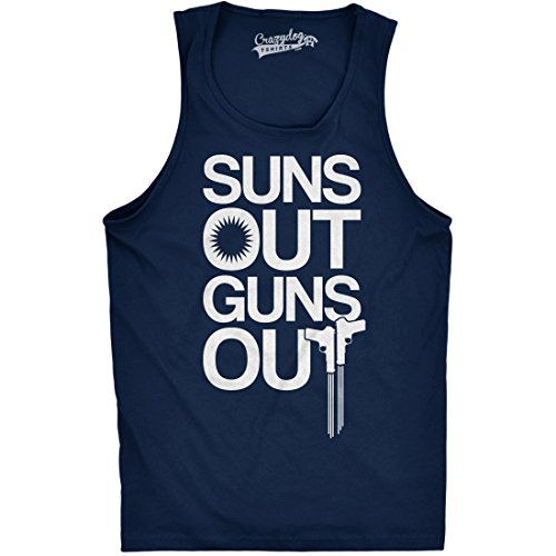 Crazy Dog TShirts - Mens Suns Out Guns Out Tank Funny Workout Tanks Hilarious Gym Shirt (Navy) M - herren - M