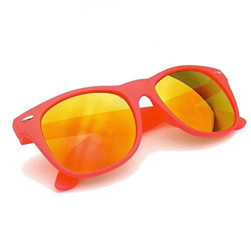 Emblem Eyewear® Revo Flash Color Mirror Reflective Lens Neon Wayfarer Sunglasses (Orange)