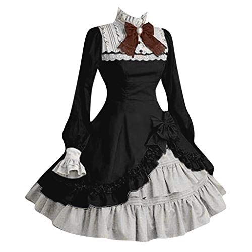Answerl☀ Women's Anime Cosplay French Apron Maid Fancy Dress Costume Multi Layers Classic Sweet Lolita Dress Black -