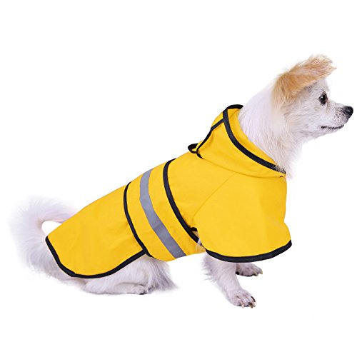 HDE Dog Raincoat Hooded Slicker Poncho for Small to X-Large Dogs and Puppies (Yellow, -