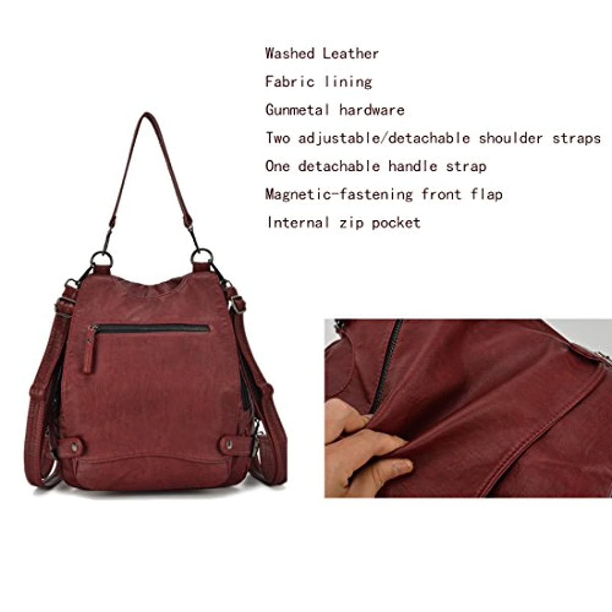 DETAILS. Women Backpack Purse Convertible Ladies Rucksack Washed Leather  Crossbody Large 8a9c02dc79297