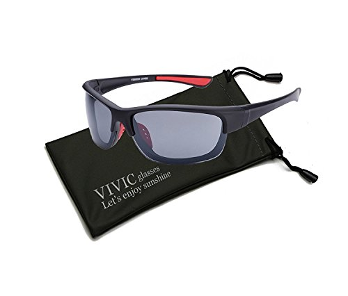 Men Sports Sunglasses Mirrored Lenses Ultra Lightweight Vivic  Gray