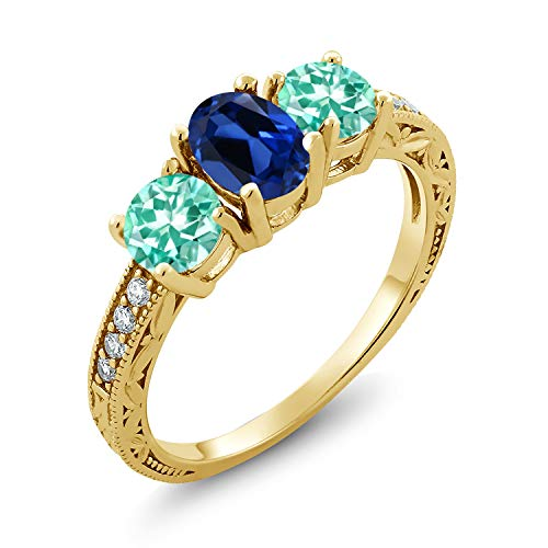 Gem Stone King 2.11 Ct Blue Simulated Sapphire Blue Apatite 18K Yellow Gold Plated Silver Ring (Size 5)