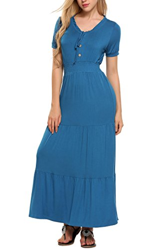 ELESOL Womens Gypsy Tiered Smock Waist Long Maxi Boho Hippie Peasant Dress,Cobalt Blue,M ()