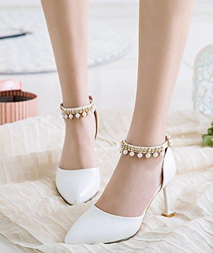 Idifu Donna Elegante Perline Tacchi A Spillo Alti Cinturino Alla Caviglia D-orsay Pumps Scarpe Bianche