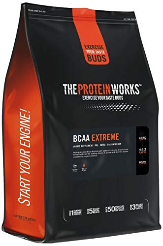 The Protein Works BCAA Extreme Powder, Amino Acid Supplement, 4:1:2 Ratio Leucine, Valine, and Isoleucine, Orange Burst, 83 Servings, 500 g